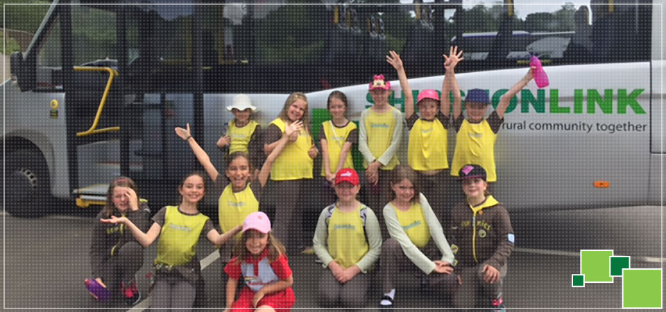 Shipston Brownies enjoying a Private Hire outing with The Shipston Link